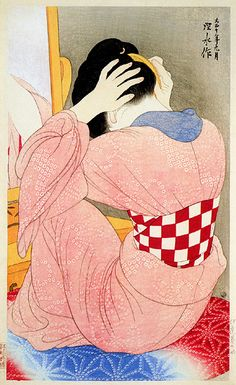 Japan Painting - Woman with an Undersash  by Ito Shinsui, 1921  (published by Watanabe Shozaburo)