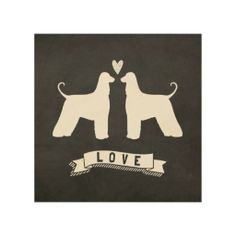 Afghan Hounds Love - Dog Silhouettes w/ Heart Wood Canvases