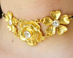 golden flower choker, romantic jewelry, rose necklace, bouquet pendant, summer fashion, black leather choker, party choker, wedding choker, prom choker, choker,18k new fashion