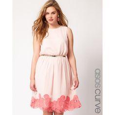 Asos Curve Premium Dress With Contrast Cutwork Hem found on Polyvore