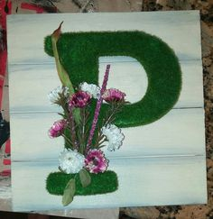 """Initial wall coming together one """"P"""" at a time Initial Wall, Initials, Floral Wreath, Wreaths, Home Decor, Floral Crown, Decoration Home, Door Wreaths, Room Decor"""