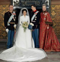 the pink royals: The wedding of Prince Joachim of Denmark and Alexandra Christina Manley - November The bride and groom are pictured with Queen Margrethe II and Prince Henrik Famous Wedding Dresses, Royal Wedding Gowns, Celebrity Wedding Dresses, Royal Weddings, Celebrity Weddings, Alexandra Manley, Princess Alexandra Of Denmark, Danish Royalty, Marriage Dress