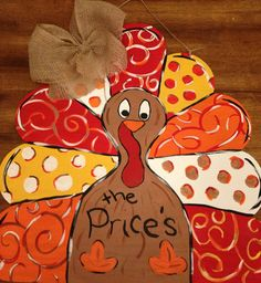 Tom the thanksgiving turkey wooden door hanger by lilGApeach, $40.00