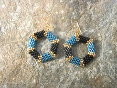 Hexagon Hoop Earrings in Blue and Black by SierraBeader on Etsy, $38.00