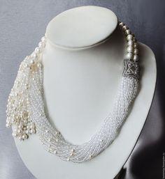 Pearls tassel necklace with rock crystal Waterfall Bead Jewellery, Wire Jewelry, Jewelry Crafts, Jewelry Art, Beaded Jewelry, Jewelery, Silver Jewelry, Handmade Bracelets, Handmade Jewelry