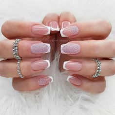 Ideas of Luxury Nails To Really Dazzle In 2020 - Neutral French Mani With Caviar Accents ❤ 30 Ideas of Luxury Nails To Really Dazzle ❤ See more -