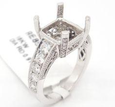 Classic 18k White Gold 0.91ct Pave Diamond Engagement Semi Mount Bridal Ring 6.5