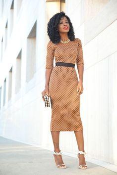 Diamond Print Contrast Waist Midi Dress