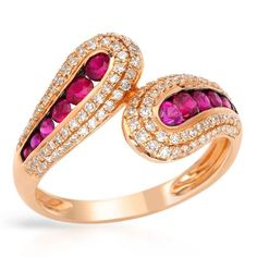 Diamonds and rubies in rose gold.