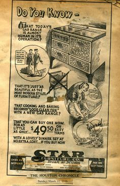 """""""Do you know that today's gas range is almost human in it's [sic] operation? Vintage Ads, Vintage World Maps, Best Cleaning Products, Junk Journal, Did You Know, 1930s, Depression, Give It To Me, Range"""