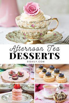 Tea Party Desserts, Party Sweets, Mini Desserts, Tea Party Cakes, Tea Party Recipes, Tea Party Menu, Food For Tea Party, Tea Party Foods, High Tea Recipes