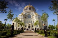 The Naval Cathedral of Saint Nicholas at Kronstadt. Exterior Built in 1903-1913 as the main church of the Baltic Fleet of the Russian Imperial Navy and dedicated to all fallen seamen. On October 27, 1901 the 14,000 strong garrison of Kronstadt was summoned for the groundbreaking on Anchor Square. Earthwork and work on concrete foundations and a granite base continued through 1902; the walls were laid down in a massive ceremony May 8, 1903 with the Emperor Nicholas II in attendance.