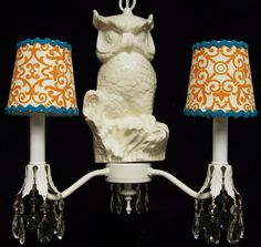 Owl Chandelier w ric rac Trim