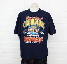 Vintage 90s Denver Broncos Shirt XL NFL Football Super Bowl XXXIII 1999  Champions Navy Blue Tee T-Shirt 51e0405d6