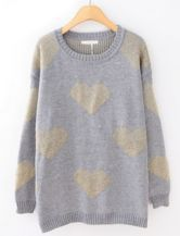 Grey Long Sleeve Hearts Pattern Loose Sweater US$33.61