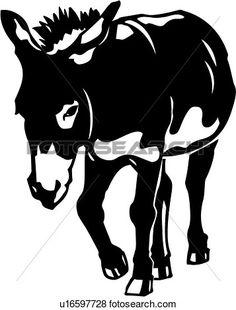 Clip Art of Donkey u16597728 - Search Clipart, Illustration ...