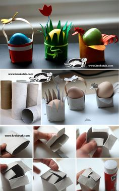 Egg Stands from Toilet rolls. Three different easy to make egg stands. Perfect for your easter table. With instructions. Toilet Roll Craft, Toilet Paper Roll Crafts, Paper Crafts, Easter Art, Easter Crafts For Kids, Easter Eggs, Spring Crafts For Kids, Diy For Kids, Diy Ostern