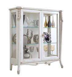 """Display cabinet """"Beautiful line"""" - ItalianStyle by ArteFerretto. Wooden display cabinet in classic style. Italian design living room furniture. Lacquered display cabinet. White furniture"""