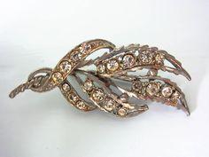 Art Deco Vintage leaf design brooch, rhinestone leaf brooch, silver tone leaf brooch, gift for her, Uk Shop, Leaf Design, Etsy Store, Gold Rings, Art Deco, Rose Gold, Brooch, Leaves, Stone