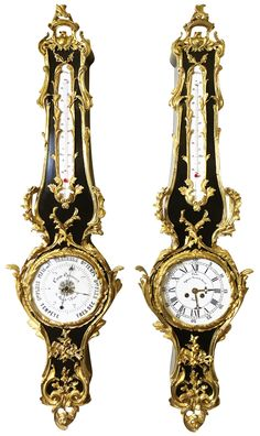 """A Very Fine and Palatial Pair of French 19th/20th Century Louis XV Style Ebonized and Gilt-Bronze Mounted Cartel Clock and Matching Barometer by La Maison Cam Opticien. The pair similarly surmounted with gilt-bronze ornaments depicting scrolls, acanthus and floral bouquets with fruits, acorns and a quiver with arrows. The cartel wall mounting barometer's circular porcelain dial with a glass cover, the face signed """"Cam Opticien - Rue de la Paix, 24/ Paris""""(faded) with the different…"""