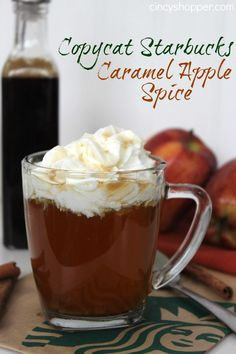 CopyCat Starbucks Caramel Apple Spice Recipe. Perfect to enjoy this fall. Save your $$'s and satisfy your Starbucks addiction at home.