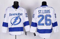 938a5d40b Reebok Tampa Bay Lightning 26 St.Louis White Blue Men s NHL Jersey