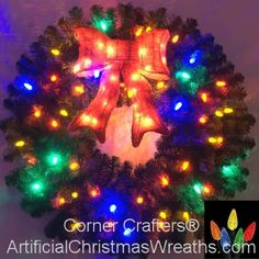 3 Foot inch) Multi Color L. Christmas Wreath with Pre-lit Red Bow Pre Lit Christmas Wreaths, Christmas Tree, Bulbs, Christmas Sweaters, Bow, Holiday Decor, Color, Beautiful, Teal Christmas Tree
