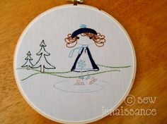 Embroidery Design PDF Pattern Ice Skating Girl