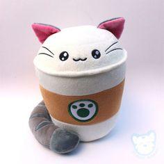 Purrista Pawfee: Medium Size Cute Coffee Kitty Cat Plush from Kimchi Kawaii - Plushies Cute Stuffed Animals, Cute Pillows, Cute Plush, Kawaii Cute, Kawaii Shop, All Things Cute, Plushies, Softies, Sewing Projects