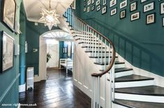 "hallway green and dark floors ""RT if this looks like your dream home! Hallway Colours, Hallway Decorating, House, Home, Victorian Homes, Victorian Hallway, House Styles, Rustic Flooring, House Interior"