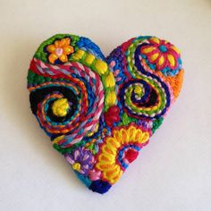 Freeform embroidery heart brooch Brooch 76 by Lucismiles on Etsy Embroidery Flowers Pattern, Felt Embroidery, Flower Patterns, Fabric Scraps, Scrap Fabric, Textiles, Diy Christmas Gifts, Pin Cushions, Wool Felt