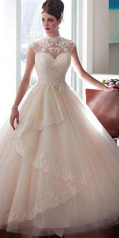 [227.00] Vestido de casamento elegante do vestido de bola do colar do tule elegante com os apliques frisados do laço & o revestimento destacável