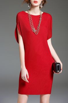 Batwing Sleeve Mini Shift Dress