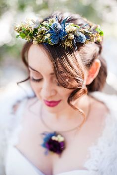 Unique floral crowns with thistles | Candice Benjamin Photography | see more on: http://burnettsboards.com/2014/04/game-thrones-themed-wedding-2/