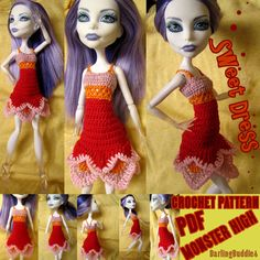 Monster High clothes: crochet dress pattern ❤ Inspired by flowers and fairies ❤ #MonsterHighclothes #MonsterHigh #crochet #pattern #dollcrochet #doll #MonsterHighCrochet #dress #crochetthread #clothes