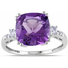 Miadora 10k White Gold Amethyst (5 145 UAH) ❤ liked on Polyvore featuring jewelry, rings, purple, round diamond ring, purple cocktail ring, 3 stone ring, purple ring and round cut diamond rings