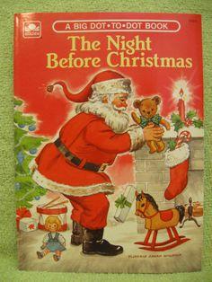 NIGHT BEFORE CHRISTMAS Vtg DOT Coloring Book FLORENCE SARAH WINSHIP 1975 SANTA