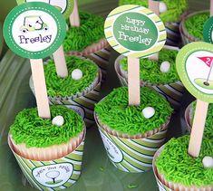 Golf cupcakes - printables from Chickabug.com