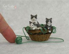 Miniature Basket of Kitten sculptures by Pajutee on DeviantArt