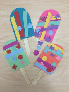 Summer preschool - Popsicle Summer Art Craft Perfect for end of the year classroom activities Give students stickers, pieces of precut paper, and glitter and glue Stand back and see what they can create Have th Summer Crafts For Toddlers, Summer Kids, Art For Kids, Kindergarten Crafts Summer, Summer Themes For Preschool, Summer School Themes, Art Projects For Toddlers, Summer Daycare, Summer Camp Art