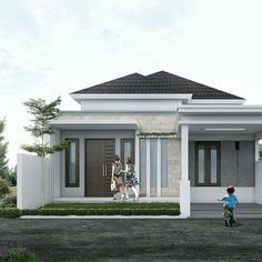 Simple and Modern Inspirational Minimalist Home Designs Modern Bungalow House, Modern House Plans, One Storey House, House Design Pictures, Modern Minimalist House, House Front Design, Facade House, Simple House, Location