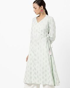 Check out V-neck Angrakha-Style Kurta on AJIO! Angrakha Style, Dresses With Sleeves, V Neck, Long Sleeve, Green, Fashion, Moda, Sleeve Dresses, Long Dress Patterns