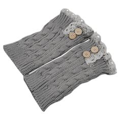 """Women Girl Crochet Knitted Lace Trim Boot Cuffs Toppers Leg Warmers - Light Gray. Material: Acrylic Fibers. Features: Knitted Leg Warmers, Button Decoration. Length: 22cm/8.66"""" (Approx.). Width: 10cm/3.94"""" (Approx.). Package Includes: 1 Pair of Leg Warmers."""