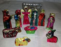 Collectable Handmade, Hand painted Aluminum Flat Nativity Set 10pc | eBay