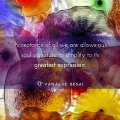 Acceptance of all we are allows our soul signature to amplify to its greatest expression. Panache desai quotes