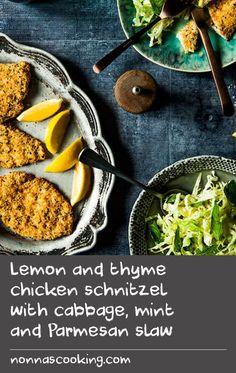 Lemon and thyme chicken schnitzel with cabbage, mint and Parmesan slaw | Chicken schnitzel can now be a regular feature in the mid-week meal plan with this light and healthy version. Baked rather than fried, and with no mention of mayo, the iconic Aussie dish can now be enjoyed without the calorie or cholesterol concerns.