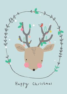 Happy Christmas! Adorable deer with decorated antlers holiday art print printable.