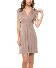 Love this Mocha Cap-Sleeve Surplice Dress by ARIA FASHION USA on #zulily! #zulilyfinds - Black booties, accessories and you're ready for fall! $17.99 sale
