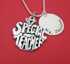 personalized special teacher necklace by juliethefish on Etsy