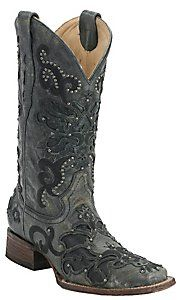 Corral® Ladies Black Crater Overlay with Studs Square Toe Western Boots